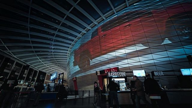 "New work marathon continues. About a year ago we said ""why not?"" to a request to light up the entire LCA Stadium in Detroit. 12 months later, this challenge turned bigger than expected - watch the Chevrolet projections we created to light up the 600ft screen encircling the home of the Detroit Red Wings ⏩ for Part 2."